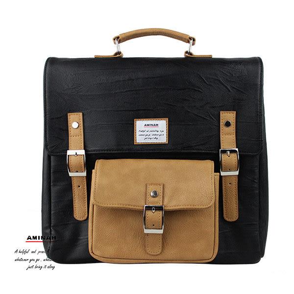 黑色正點皮革後背包 AMINAH~【am-0275】