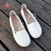 女鞋淺口小白鞋系娃娃鞋平底圓頭豆豆單鞋交叉綁帶奶奶鞋 巴黎?尚生活