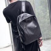 正韓男士小背包潮包休閒簡約復古後背包中書包PU皮旅行包