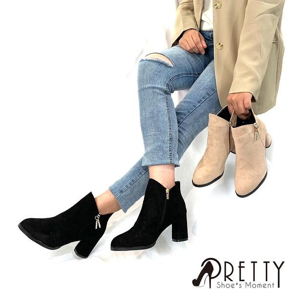 BA-2A333 女款短靴 水鑽金屬飾扣側拉鍊粗高跟短靴/踝靴【PRETTY】