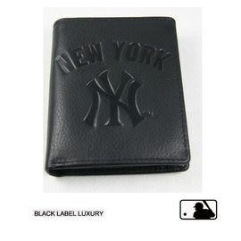 Backbager 背包族【MLB 美國大聯盟 洋基】直式 皮件 名片夾/皮夾/短夾/錢包-黑色