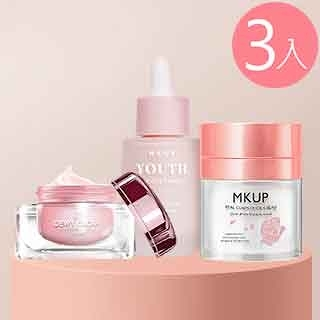 MKUP 美咖 玻璃水光霜+賴床美白素顏霜+奇肌幻顏霜SPF15(妝前乳)