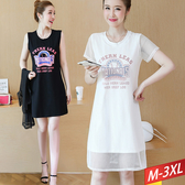 兩件式棒球圖印網罩洋裝(2色) M~3XL【213256W】【現+預】-流行前線-