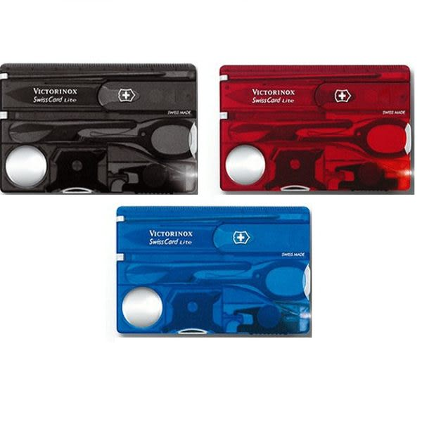 Victorinox 維氏13用名片型瑞士LED燈刀(透黑/透藍/透紅)0.7322