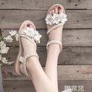 平底涼鞋 仙女風涼鞋女學生夏季新款女鞋軟妹配裙子的沙灘鞋平底羅馬鞋 韓菲兒