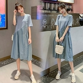 漂亮小媽咪 韓系質感 洋裝 【D9987】 寬鬆 短袖 拼接 中長款 洋裝 孕婦裝
