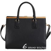 DOLCE & GABBANA Sofia Bag 壓紋牛皮兩用提包(黑色) 1430458-01