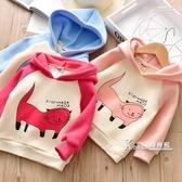 女童抓絨連帽T恤新款冬裝女寶寶貓咪印花套頭衫冬季兒童薄絨連帽連帽T恤 Korea時尚記