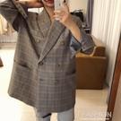 春秋2019新款韓版寬鬆設計感復古中長款chic格子小西裝外套女-Ifashion