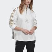 J-adidas ORIGINALS Quarter-Zip 白色 白金 女 半拉鍊 大學T 三葉草 三線 新款 GK1723