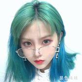 網紅街拍挑染假髮女 二次元空氣劉海短直髮 綠色漸變藍中長鎖骨髮 qf9644【黑色妹妹】