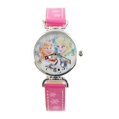 【Disney】公主系列 艾莎、安娜 皮製錶帶兒童錶-桃粉款/FR-3K1246U-002DP/原廠授權享一年保固