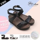 涼鞋.涼感一字帶繞踝楔型涼鞋-黑-FM時尚美鞋-訂製款.Dream
