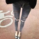 窄管褲 破洞牛仔褲女九分春季灰色高腰彈力緊身顯瘦顯高鉛筆小腳褲-Ballet朵朵
