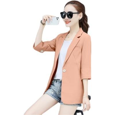 西裝外套女裝M-3XL小西裝外套女七分袖夏季薄款韓版寬松休閑女士中袖西服T153韓衣裳
