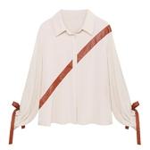 MG小象學生少女襯衫女長袖新款燈籠袖雪紡上衣休閒網紅襯衣