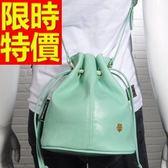 水桶包-可肩背繽紛可愛皮革女側背包2色58o38【巴黎精品】