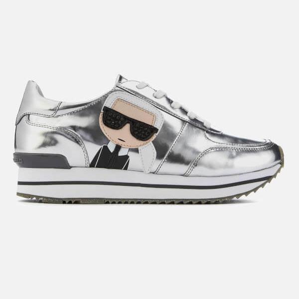 Karl Lagerfeld 福利鞋 VELOCITOR II Q版麂皮透氣綁帶休閒鞋-銀