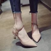 貓跟涼鞋百搭包頭細跟尖頭一字扣高跟女士鞋