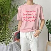 超豐國際女裝學院風英文字母百搭套頭寬松學生短袖T 恤女上衣1 入