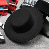 潮流休閒黑色明星同款禮帽復古紳士英倫風平頂平沿毛呢男女帽子 完美情人精品館