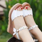 坡跟涼鞋防水台鬆糕厚底坡跟涼鞋女露趾防滑高跟大碼40-43涼鞋 金曼麗莎