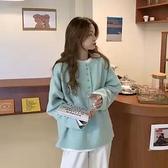 長袖厚棉T女裝春秋季薄款2021新款chic港風設計感小眾上衣服潮ins糖果色仙女風長袖