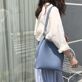 子母包2020韓國chic簡約百搭素色大容量磁扣PU子母包側背水桶包斜背女包 衣間迷你屋