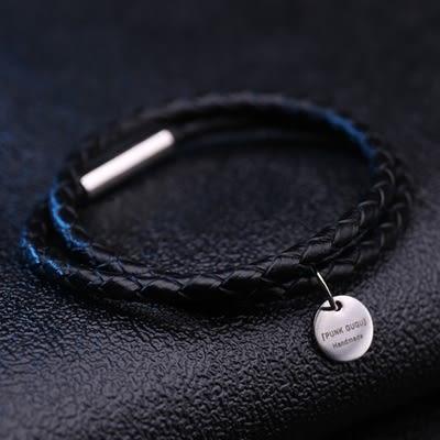 免費刻字手環黑色雙層編織真皮手鏈男女情侶手繩