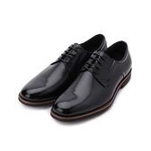 BONJO 素面綁帶氣墊紳仕皮鞋 黑 男鞋