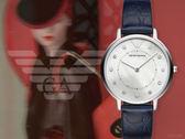 【時間道】EMPORIO ARMANI亞曼尼 時尚雅緻貝殼面仕女腕錶/白貝面深藍壓紋皮帶(AR11095)免運費