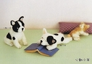 心動小羊^^鬥牛犬美麗諾羊毛羊毛氈材料包、可製作成手機吊飾、小裝飾(純羊毛製品)