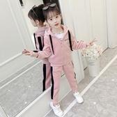 女童春秋冬裝金絲絨套裝新款洋氣兒童韓版網紅運動女孩兩件套  俏女孩