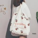 大容量帆布包女可愛印花側背包原宿學生上課托特包【聚物優品】