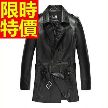 真皮風衣-有型高貴優質質感長版男皮衣大衣4款62x4【巴黎精品】