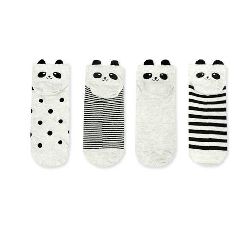 MIUSTAR 正韓‧後跟耳朵熊貓臉棉質短襪四入組(共1色)【NE1670GW】預購
