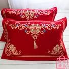 結婚款枕巾純棉紗布一對喜慶紅色婚慶用枕頭巾【匯美優品】