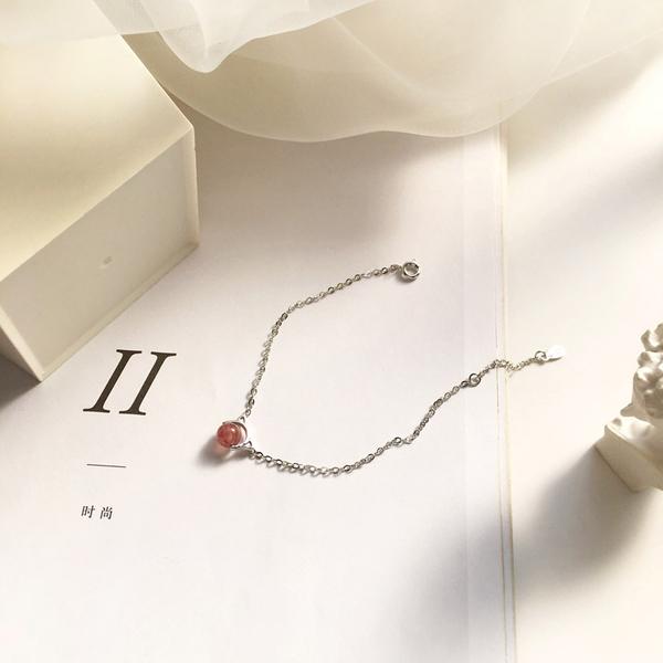 手鍊手鏈可愛小貓頭日韓甜美手鏈 簡約百搭粉色草莓晶手镯 少女減齡手飾品