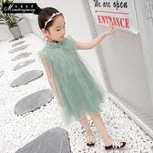 女童夏裝裙子童裝中大童旗袍蕾絲網紗蓬蓬純色洋裝兒童公主裙禮物限時八九折