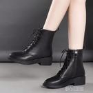平底靴紅綪綎短靴女平底真皮馬丁靴秋冬新款加絨顯腳小英倫風棉鞋女 快速出貨