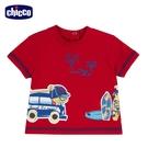 chicco-衝浪小熊-印圖短袖上衣-紅
