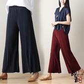 早褲裙女荷葉邊大尺碼闊腿褲顯瘦九分褲百褶喇叭褲
