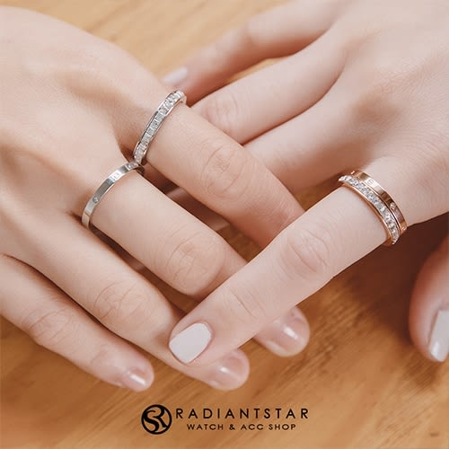 [鈦鋼]穿透雲光的想念簡約夾鑽戒指二件組【KTL478】璀璨之星☆