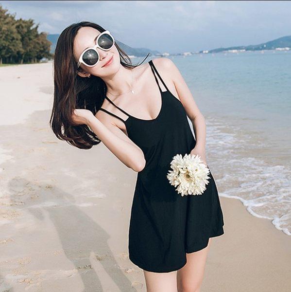 性感雙肩帶露背交叉背心洋裝細肩帶純色素面露背傘狀裙襬連身裙洋裝