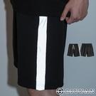 【OBIYUAN】棉褲 運動短褲 反光 邊條 休閒褲 五分褲 1色【T224】