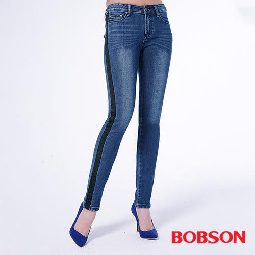 BOBSON  女款低腰配織條小直筒褲(8143-53)