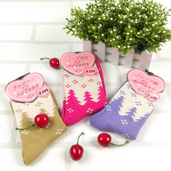 襪子 冬日小樹兔羊毛襪保暖女襪   【FSW090】-收納女王