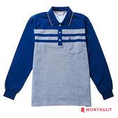 POLO衫男款長袖 夢特嬌 都會休閒素色菱紋_藍色