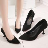 正韓尖頭高跟鞋細跟貓跟鞋絨面淺口百搭單鞋女鞋子