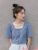 法式上衣襯衫女士設計感小眾2021年新款襯衣上衣早春秋方領夏季法式短袖 芊墨 618大促